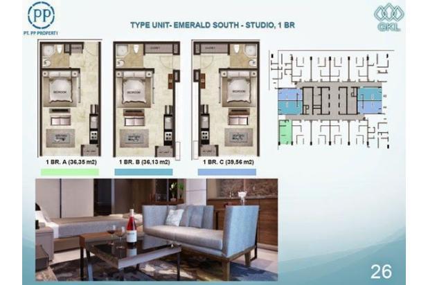 Dijual Apartemen Grand Kamala Lagoon 1BR Tower Emerald South Low Floor