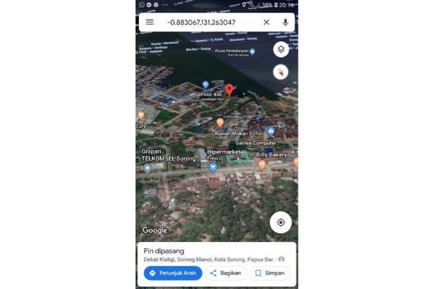 DiJual Lahan Tepi Laut , Jl Jend Sudirman , Sorong , Papua Barat