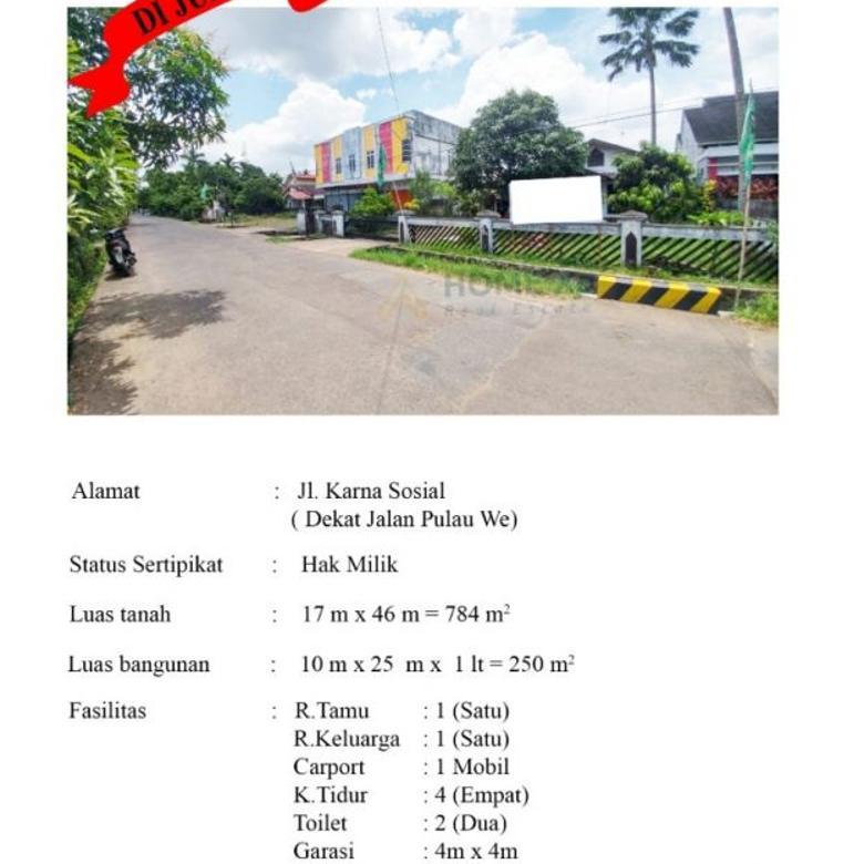 Dijual Tanah Dan Bangunan Rumah,Lokasi Setrategis,Dekat Kota