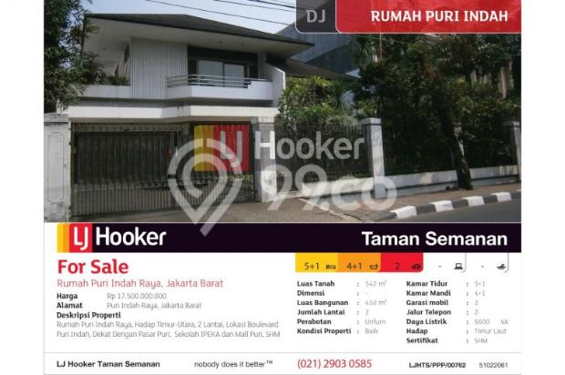 Rumah Puri Indah Raya, Jakarta Barat, Brand New, 542m, 2 Lt 8244381