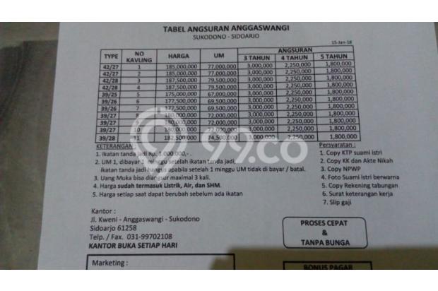 Rumah Murah Sukodono Angaswangi 2 lantai 100 jtan INHOUSE NO BUNGA 10 unit 15218665