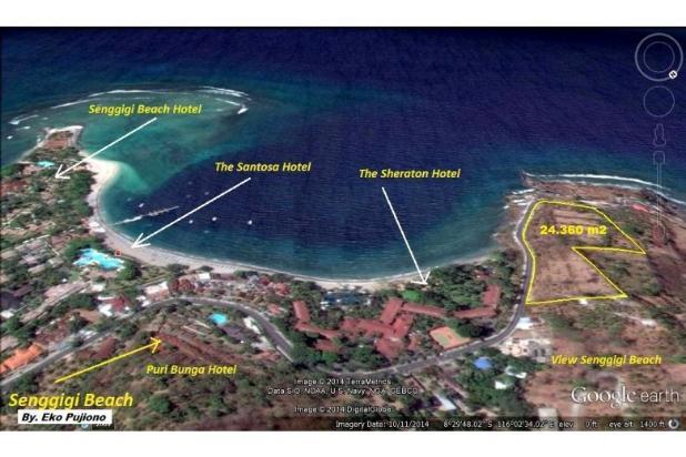 tanah dijual 2,43ha shm view terbaik di central senggigi lombok ntb