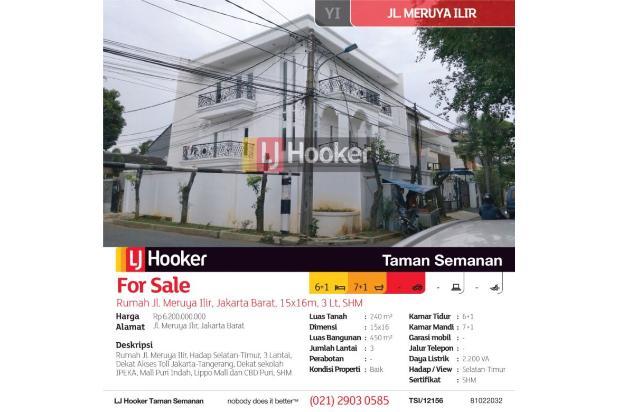 Rumah Jl. Meruya Ilir, Jakarta Barat, 15x16m, 3 Lt, SHM 21019985