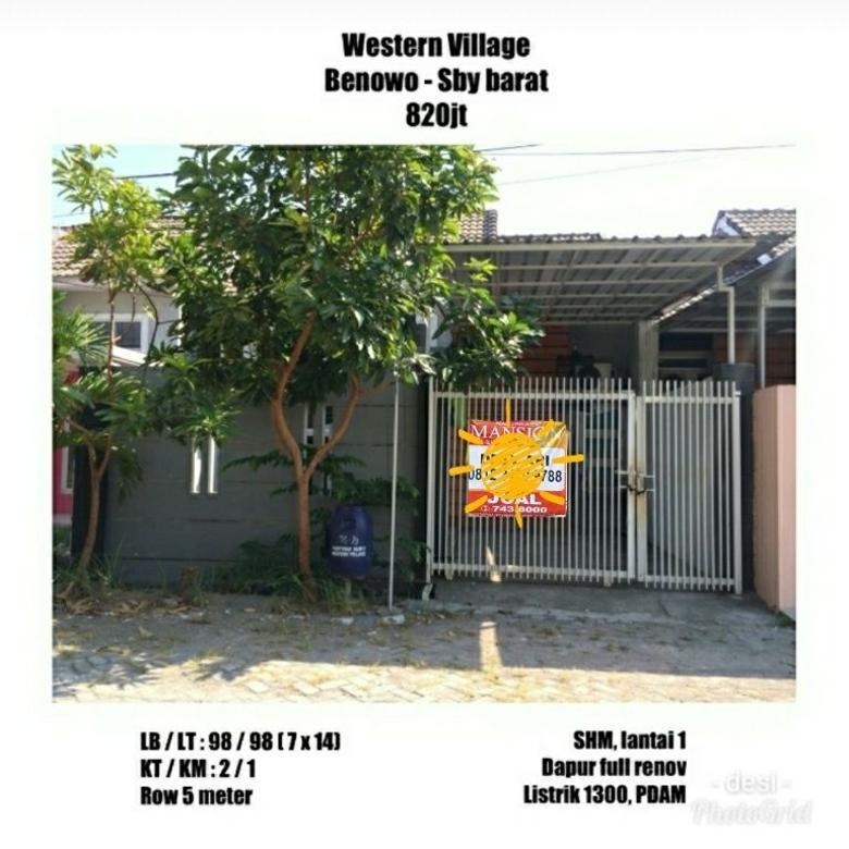 rumah western village benowo 820 juta terawat, dan aman nyaman