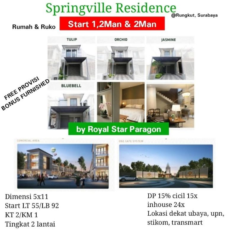 Rumah Ruko Springville Residence Rungkut Furnished InHouse