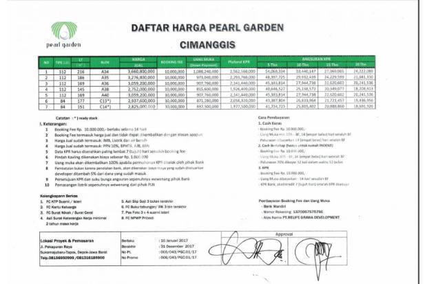 Pearl Garden Cimanggis, Rumah Tipe 112/216 Gratis Kitchen Set 14371034