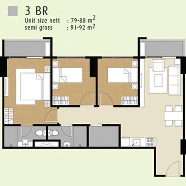 Apartemen M Town Signature 3BR Unfurnish Seberang Mall Summarecon Gading Serpong Tangerang