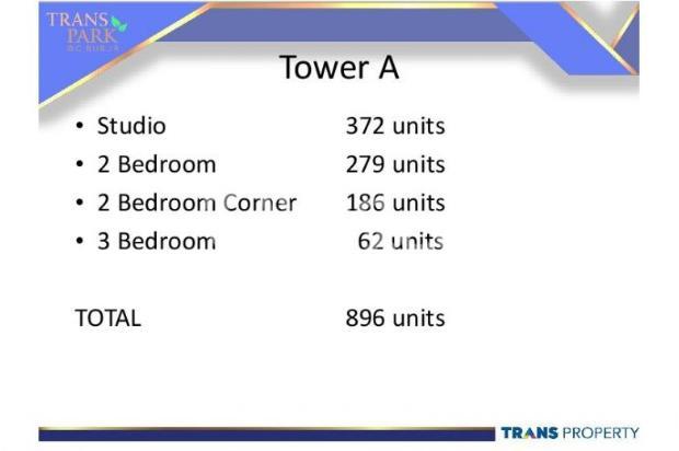 Dijual Apartemen 1BR Nyaman Strategis di Trans Park Cibubur Depok 13024187