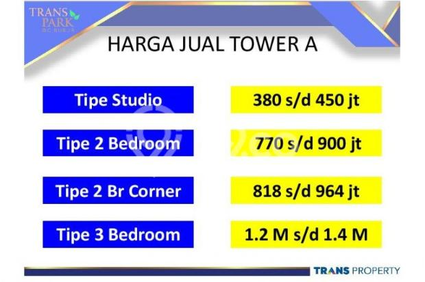 Dijual Apartemen 1BR Nyaman Strategis di Trans Park Cibubur Depok 13024223