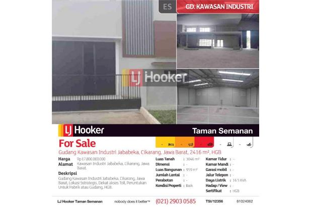 Gudang Kawasan Industri Jababeka, Cikarang, Jawa Barat, 2416 m², HGB 17995843