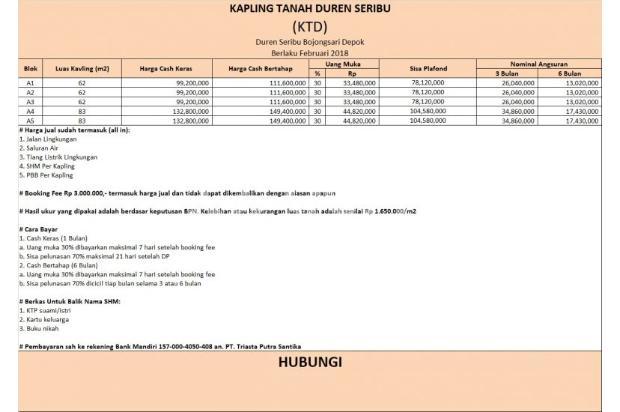 Langsung Profit 25% Beli Kavling di Bojongsari Depok 16224027