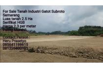 Tanah 2.5 ha Paling Murah Di Kawasan Industri Gatot Candi Subroto