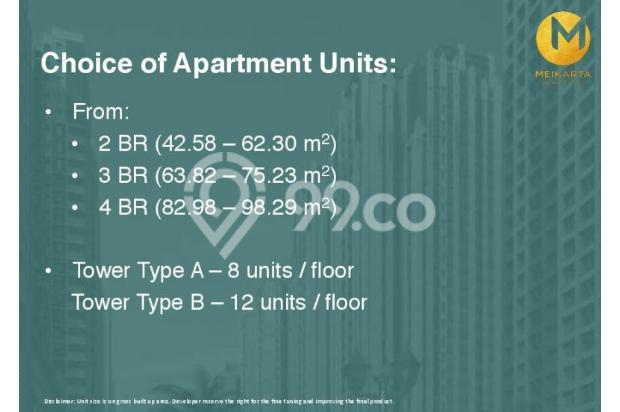 Dijual Apartemen 2BR Modern Nyaman Strategis di Meikarta Tower 1B Bekasi 13124219