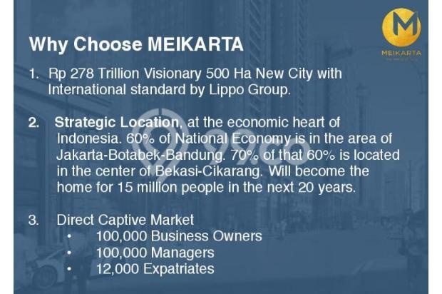 Dijual Apartemen 2BR Modern Nyaman Strategis di Meikarta Tower 1B Bekasi 13124273
