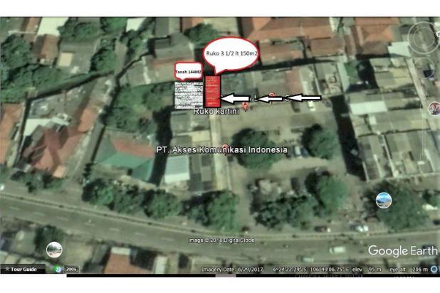 Ruko 3 1/2 Lantai plus halaman samping 144m2 Jl Kartini Raya no. 28 Depok 17711337
