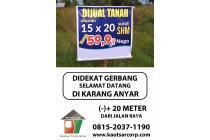 Tanah Di jual (-)+ 20 meter Dari Jalan Raya BAMBAN - KARANG ANYAR