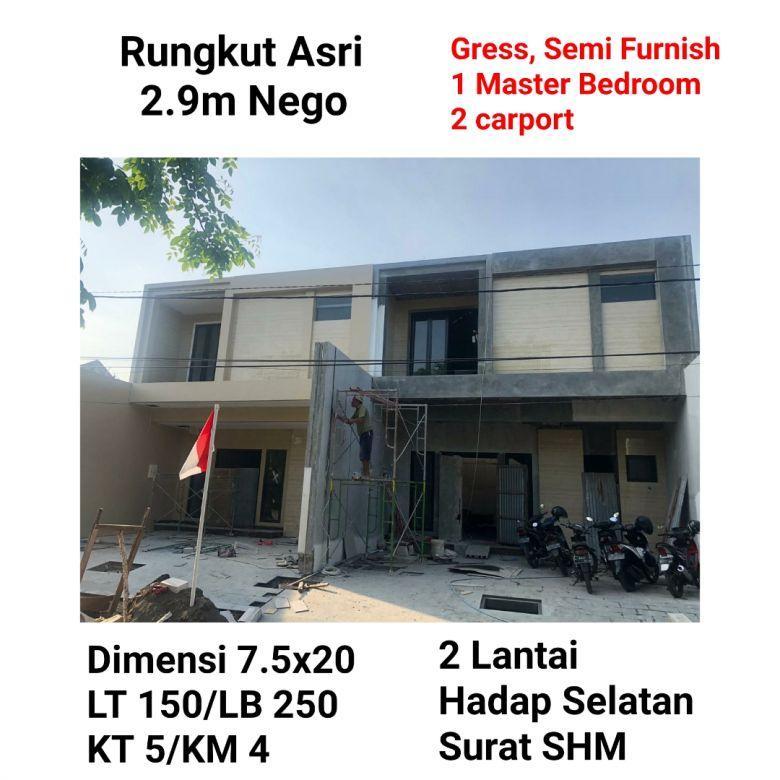 rumah rungkut asri gress semi furnish murah modern minimalis