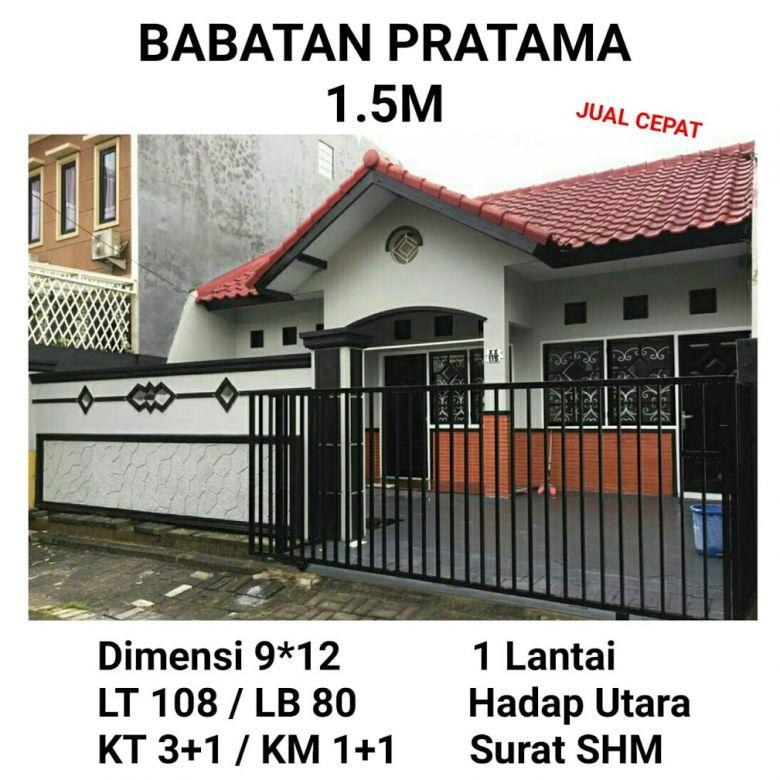 Rumah Babatan Pratama Wiyung Surabaya Barat Siap Huni Nego