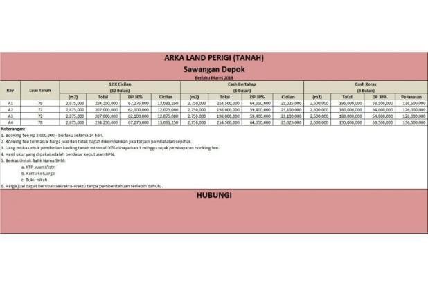 Kapling Tanah di Sawangan, 12 X Angsuran Bebas Bunga 16577356